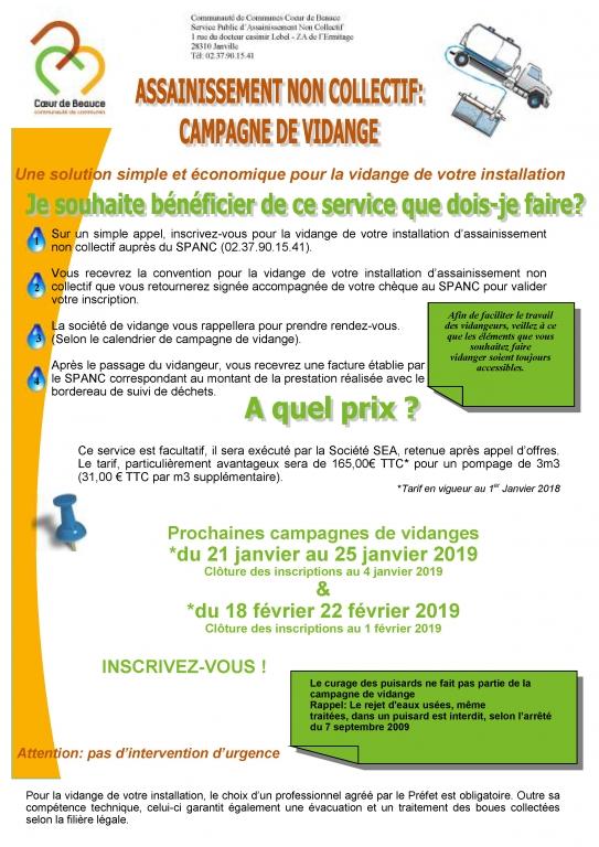 Assainissement non collectif - Campagne vidange Janv-Fév 2019